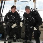 Owners Deirdre and Greg McCracken preparing to dive in Howe Sound