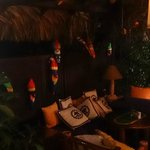 The indoor/Outdoor patio (with wooden parrots)