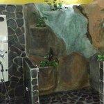 Baño con doble ducha, una común y una estilo cascada