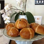Freshly made hot cross buns