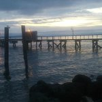 Sunset over the pier next door to the hotel