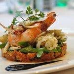 Grilled cuttlefish, calamari & prawns salad with Tuscan tomato salad
