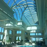 Beautiful pool area with glass ceiling!