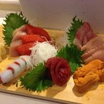 Assorted sashimi featuring a delicious variety of fresh, local seafood