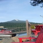 Lots of red chairs for sitting or hike Brown Mountain!