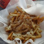 Cheesy Chips and Gravy (Poutine on the menu)