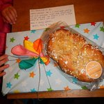 A home baked Easter bread and gifts for our kids from Bettina, the owner.