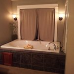 The jetted tub in the bedroom of our suite