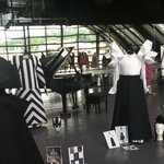 Costumes on display in the glass roof area