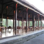 The open air restaurant in a jungle setting