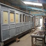 Carriage under restoration in one of the workshops