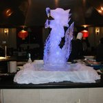 Ice carving in dining area