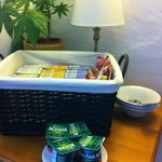 Basket with selection of cereal and yogurt