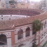 View of the bullring from our balcony