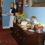 Dining at Howtown Hotel-- not unlike Downton Abbey!