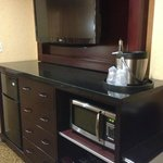 Large TV, fridge, drawers, microwave, ice bucket, safe, etc.