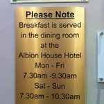 ask ahead of time where exactly the Albion House Hotel is!