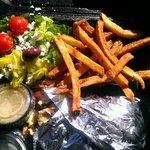 Grilled chicken gyro with Greek salad & their award winning fries
