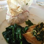 The corn-fed chicken with parchment potatoes & spinach