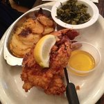 Fried Lobster, Au Gratin Potatoes, Collard Greens - YUM