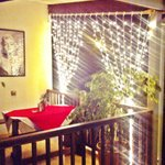 Fairy lights brighten your table on the balcony