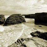 La playa con pleamar