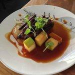 Grilled Guillemot...rhubarb, Icelandic brennivin, mushroom