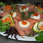 Atlantic Ducktrap... Amazing combination of Salmon, Potato Pancakes, and Caviar !