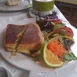 Un panini vegetariano, el aderezo es delicioso.