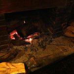 Crackling log fire
