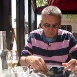 husband enjoying moules