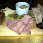 cheddar cheese, again, country pate, and rabbit & mushroom terrine with cranberry chutney.