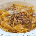 Straccetti pasta with ground chicken