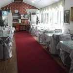 The breakfast room resembled more of a sloppy wedding reception