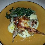 Quail with escarole and creamy polenta