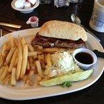 Huge steak sandwich