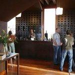 The beautiful walnut bar, wher the fun begins!