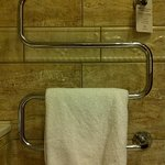 Towel rail - Caution, contents hot! Keep naked body parts away.