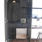Closet, electronic safe and freezer.