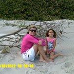 enjoying the beach in front of Tuckaway Resort