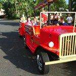 Enjoying rides around the resort on the Big Red Engine
