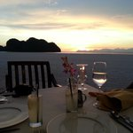 meal on the beach  at the marquee