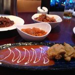 venison, lamb, pumpkin and aubergine dishes