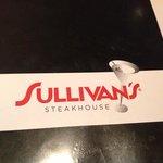 Dinner menu at Sullivan's...a bit cheap looking...nice wine menu however