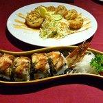 Dragon sushi and crunhy salmon sushi - both a bit of fun, but delicious