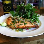 Seared salmon fillet, avocado and lots of other delicious bits