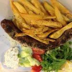 Greek Sausage with salad