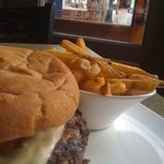 Scared Bleu Burger and fries