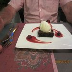 Chocolate Brownie with Cherries in Cherry Brandy