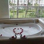 Deep soak tub & balcony view